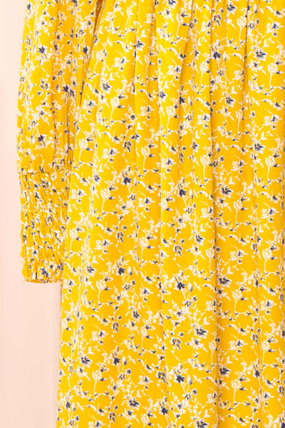 Aimee Yellow Square Neck Floral Midi Dress | Boutique 1861 sleeve