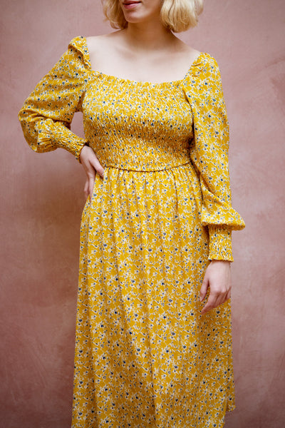 Aimee Yellow Square Neck Floral Midi Dress | Boutique 1861 model