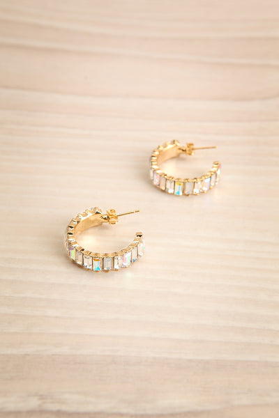 Akureyri Open Crysal & Gold Hoop Earrings | La Petite Garçonne
