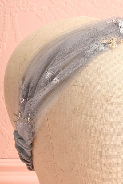 Alausa Grey Tulle Headband with Sequin Stars | Boutique 1861 3
