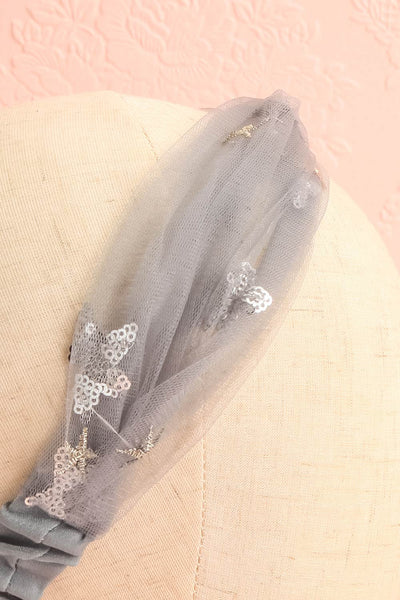 Alausa Grey Tulle Headband with Sequin Stars | Boutique 1861 5