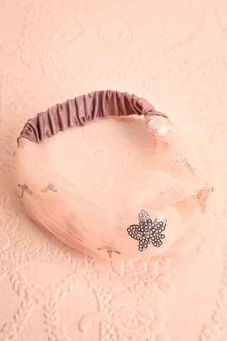 Alausa Pink Tulle Headband with Sequin Stars | Boutique 1861 7