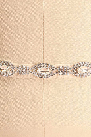 Alberta White Ribbon Belt w/ Crystals Ornament | Boudoir 1861 close-up