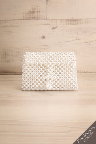 Aldehorno White Beaded Crossbody Purse | La Petite Garçonne 1