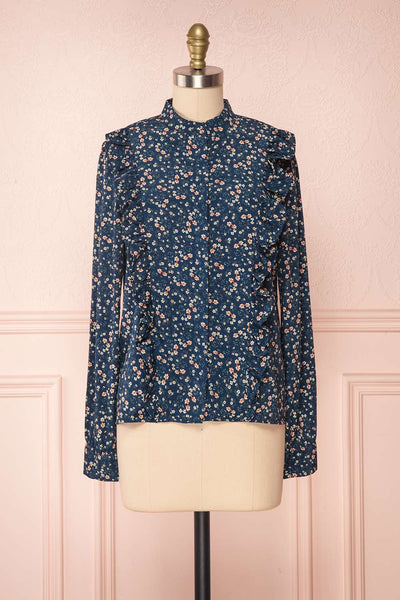 Aleah Navy Blue Floral Long Sleeved Shirt with Ruffles | FRONT VIEW | Boutique 1861