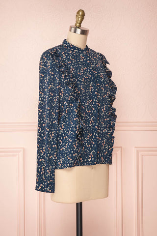 Aleah Navy Blue Floral Long Sleeved Shirt with Ruffles | SIDE VIEW | Boutique 1861