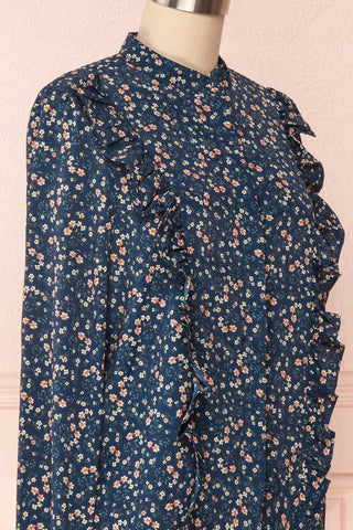Aleah Navy Blue Floral Long Sleeved Shirt with Ruffles | SIDE CLOSE UP | Boutique 1861