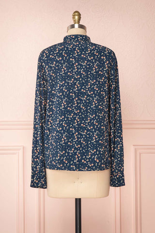 Aleah Navy Blue Floral Long Sleeved Shirt with Ruffles | BACK VIEW | Boutique 1861