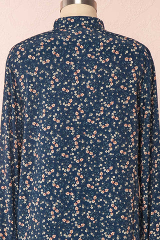 Aleah Navy Blue Floral Long Sleeved Shirt with Ruffles | BACK CLOSE UP | Boutique 1861