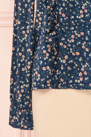 Aleah Navy Blue Floral Long Sleeved Shirt with Ruffles | BOTTOM CLOSE UP | Boutique 1861