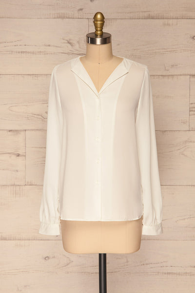 Alessano White V-Neck Button-Up Shirt | La petite garçonne  front view