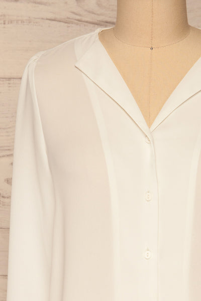 Alessano White V-Neck Button-Up Shirt | La petite garçonne  front close-up