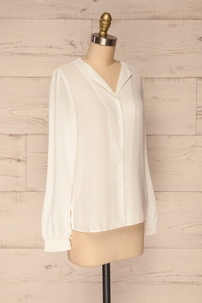 Alessano White V-Neck Button-Up Shirt | La petite garçonne  side view