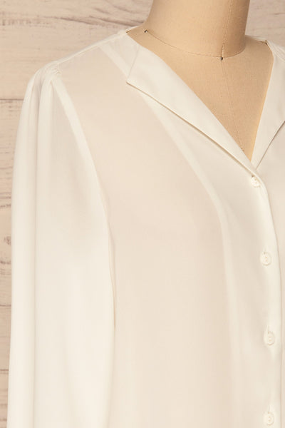 Alessano White V-Neck Button-Up Shirt | La petite garçonne  side close-up