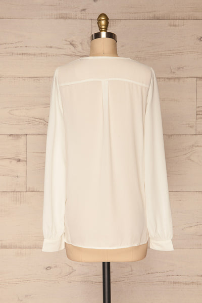 Alessano White V-Neck Button-Up Shirt | La petite garçonne  back view