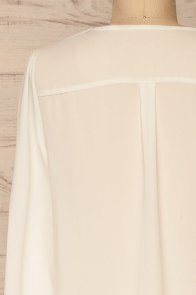 Alessano White V-Neck Button-Up Shirt | La petite garçonne  back close-up