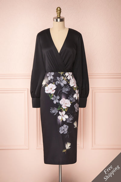 Alexina Black Floral Fitted Ted Baker Cocktail Dress | Boutique 1861 front view