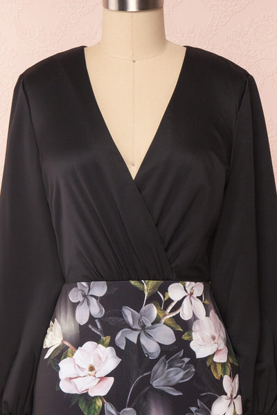 Alexina Black Floral Fitted Ted Baker Cocktail Dress | Boutique 1861 front close-up