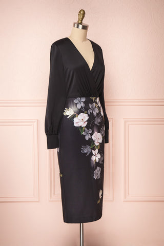 Alexina Black Floral Fitted Ted Baker Cocktail Dress | Boutique 1861 side view