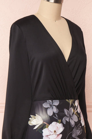 Alexina Black Floral Fitted Ted Baker Cocktail Dress | Boutique 1861 side close-up