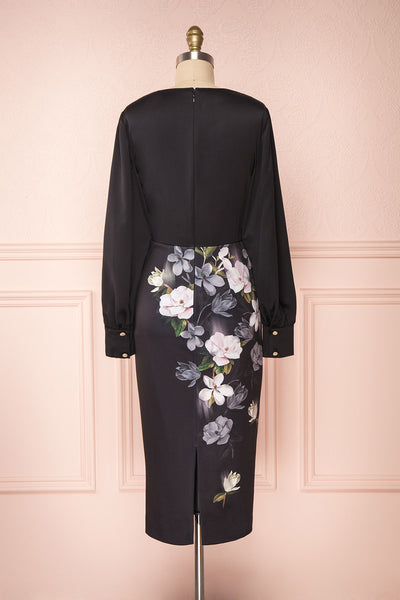 Alexina Black Floral Fitted Ted Baker Cocktail Dress | Boutique 1861 back view