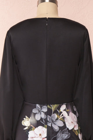 Alexina Black Floral Fitted Ted Baker Cocktail Dress | Boutique 1861 back close-up