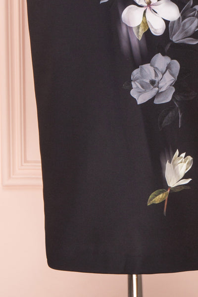 Alexina Black Floral Fitted Ted Baker Cocktail Dress | Boutique 1861 bottom close-up