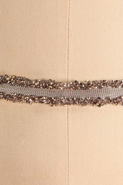 Alfifa Gris Silver Grey Ribbon Belt with Crystals | Boudoir 1861 close-up