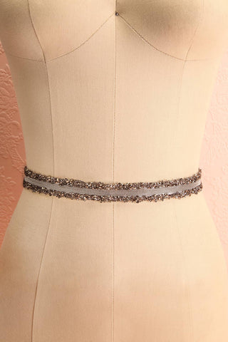 Alfifa Gris Silver Grey Ribbon Belt with Crystals | Boudoir 1861