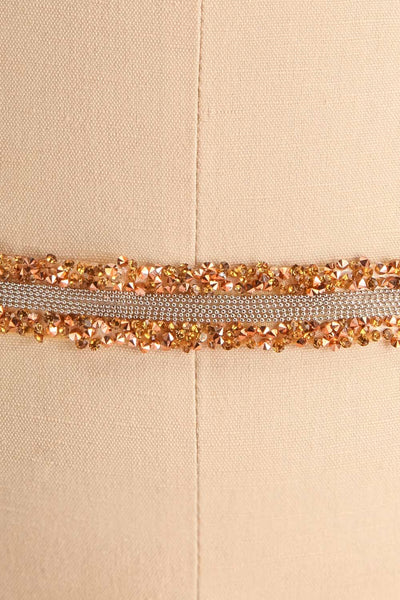 Alfifa Or Golden Yellow Ribbon Belt with Crystals | Boudoir 1861 close-up