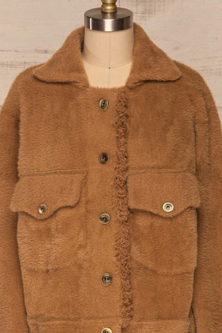 Alfonsia Brown Fuzzy Jacket w/ Buttons front close up closed | La Petite Garçonne