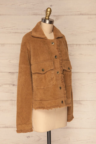 Alfonsia Brown Fuzzy Jacket w/ Buttons side view | La Petite Garçonne