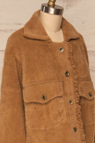 Alfonsia Brown Fuzzy Jacket w/ Buttons side close up | La Petite Garçonne