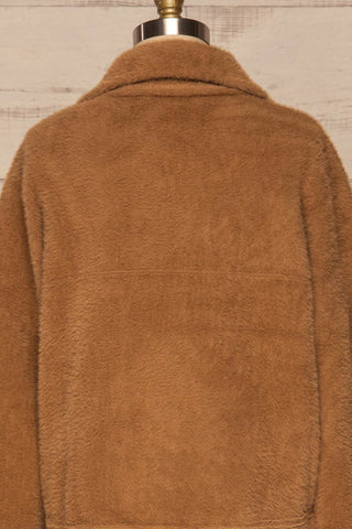 Alfonsia Brown Fuzzy Jacket w/ Buttons back view | La Petite Garçonne