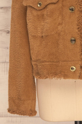 Alfonsia Brown Fuzzy Jacket w/ Buttons sleeve close up | La Petite Garçonne