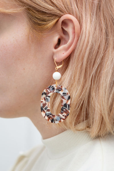 Alice Heine Marbled Pendant Earrings | La Petite Garçonne model