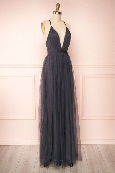 Aliki Charcoal Plunging Neckline Mesh Maxi Dress | Boutique 1861 side view