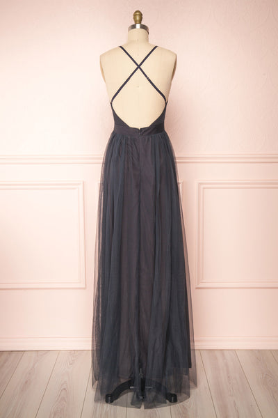 Aliki Charcoal Plunging Neckline Mesh Maxi Dress | Boutique 1861 back view