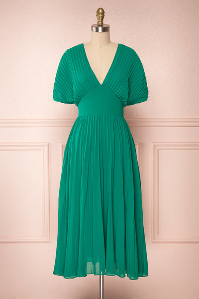 Alisha Emeraude Green Pleated A-Line Midi Dress | Boutique 1861 front view