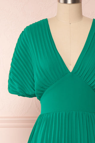 Alisha Emeraude Green Pleated A-Line Midi Dress | Boutique 1861 front close-up