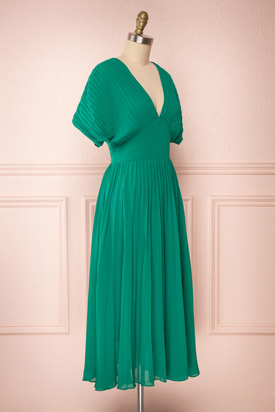 Alisha Emeraude Green Pleated A-Line Midi Dress | Boutique 1861 side view