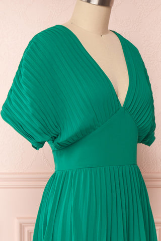 Alisha Emeraude Green Pleated A-Line Midi Dress | Boutique 1861 side close-up