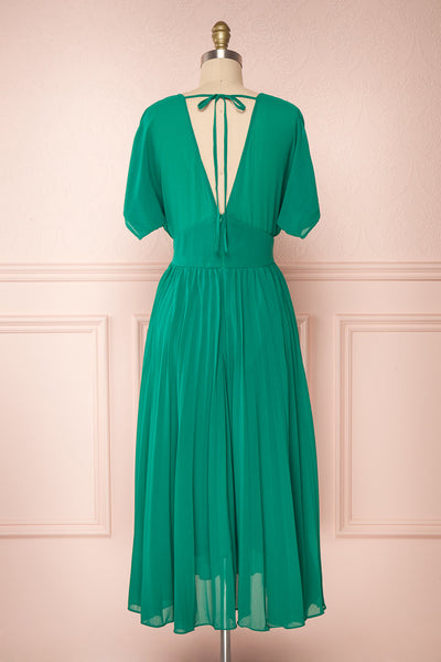 Alisha Emeraude Green Pleated A-Line Midi Dress | Boutique 1861 back view