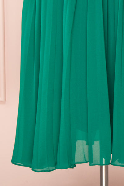 Alisha Emeraude Green Pleated A-Line Midi Dress | Boutique 1861 bottom close-up