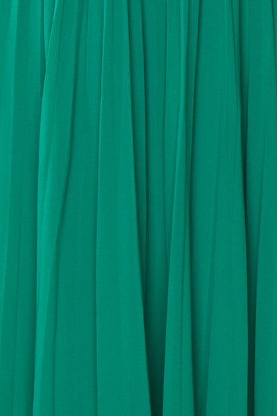 Alisha Emeraude Green Pleated A-Line Midi Dress | Boutique 1861 fabric detail