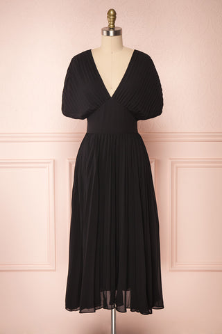 Alisha Onyx Black Pleated A-Line Midi Dress | Boutique 1861 front view