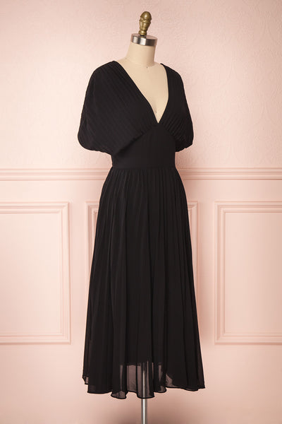 Alisha Onyx Black Pleated A-Line Midi Dress | Boutique 1861 side view