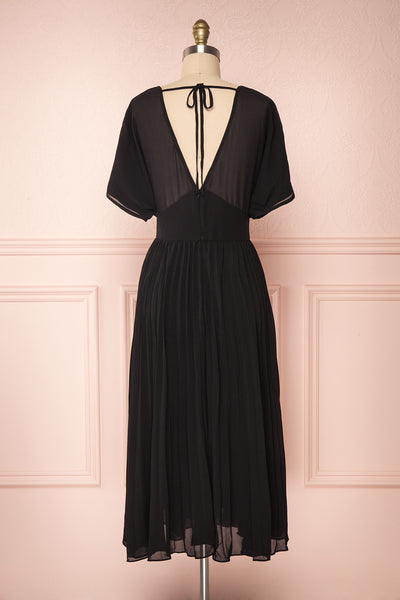 Alisha Onyx Black Pleated A-Line Midi Dress | Boutique 1861 back view