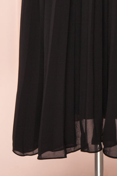 Alisha Onyx Black Pleated A-Line Midi Dress | Boutique 1861 bottom close-up