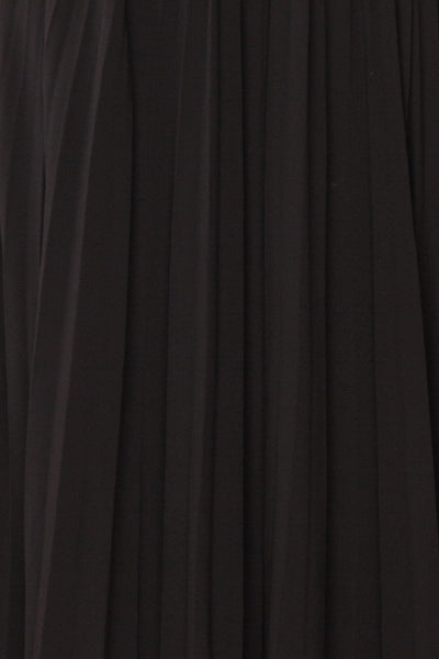 Alisha Onyx Black Pleated A-Line Midi Dress | Boutique 1861 fabric detail